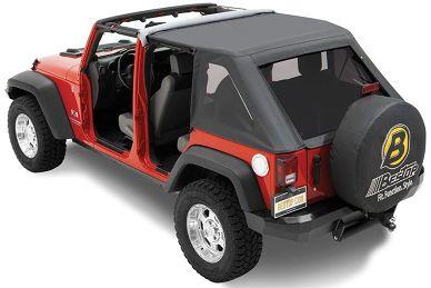 כיסוי שחור בסטופ טרקטופ NX רנגלר JK עם 4 דלתות שיפוע חד מאחור